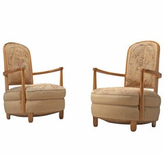 Pair of Elegant Art Deco Armchairs with Original Floral Upholstery