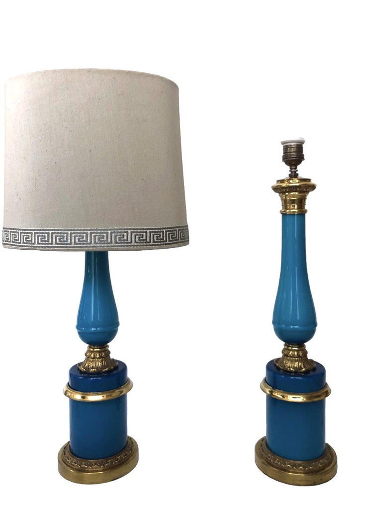 Elegant, charming and unique set of two French table lamps from 1960s. These pieces were made during the 1960s in France, Each table lamp is equipped with one-light sockets (E27). A professional electrician has checked and prepared the piece to