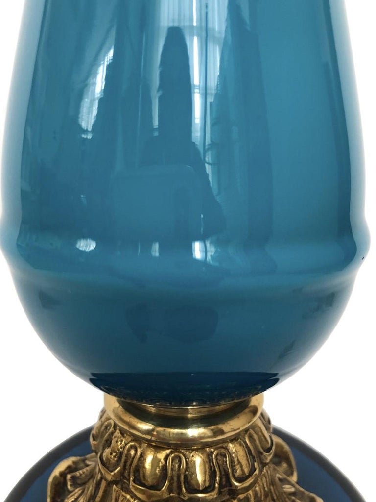 Brass Pair of Elegant Blue Midcentury French Blue Glass Table Lamps, 1960s