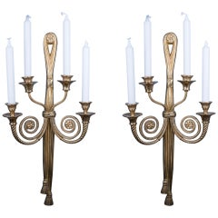 Pair of Elegant Bronze Candle Holding Wall Lights