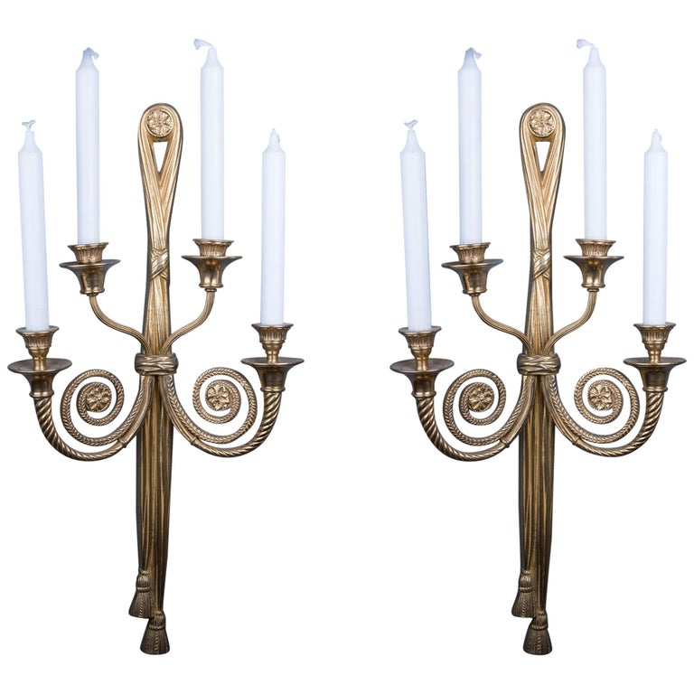 Pair of Elegant Bronze Candle Holding Wall Lights For Sale