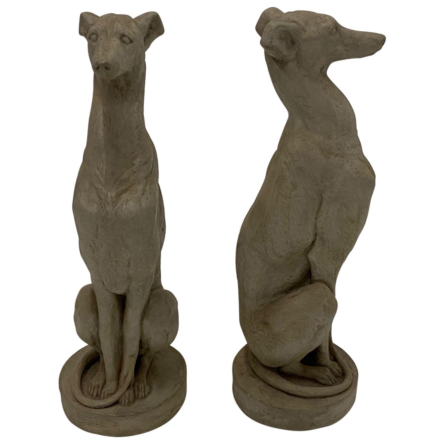 Pair of Elegant Cast Cement Whippet Sculptures