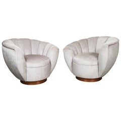 Pair of Elegant Channel Back Club Chairs