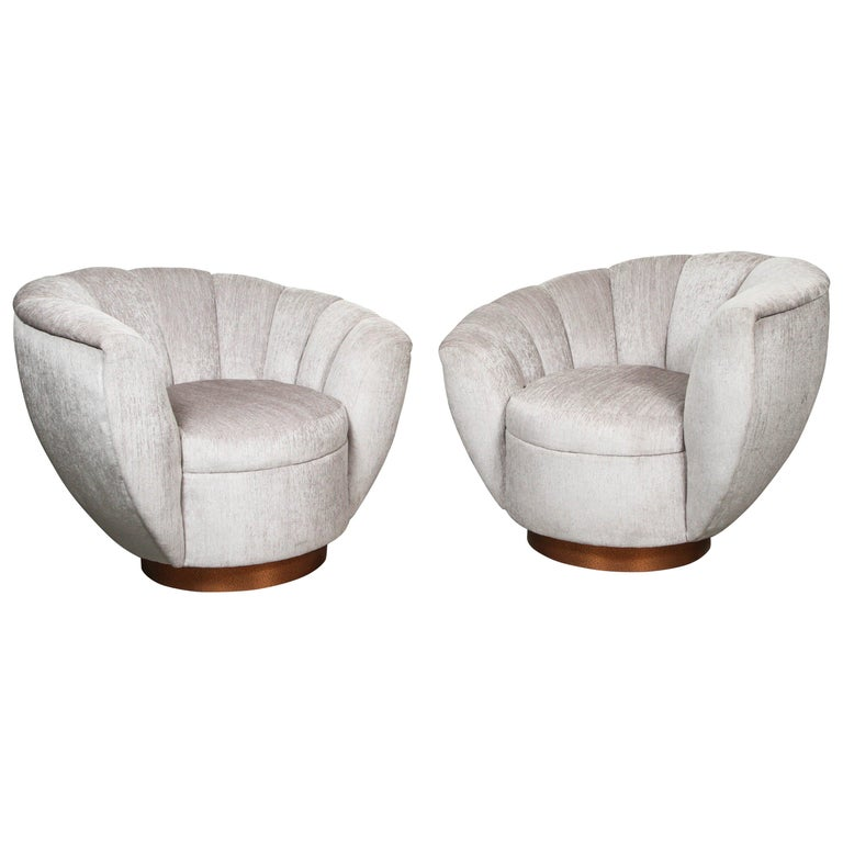 Pair of Elegant Channel Back Club Chairs For Sale