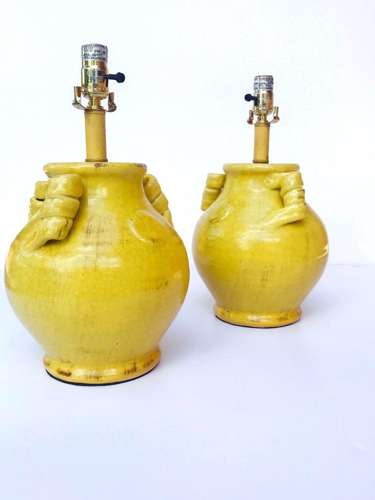 Pair of Elegant Chinese Pottery Lamps in Antique Yellow Glaze For Sale 3