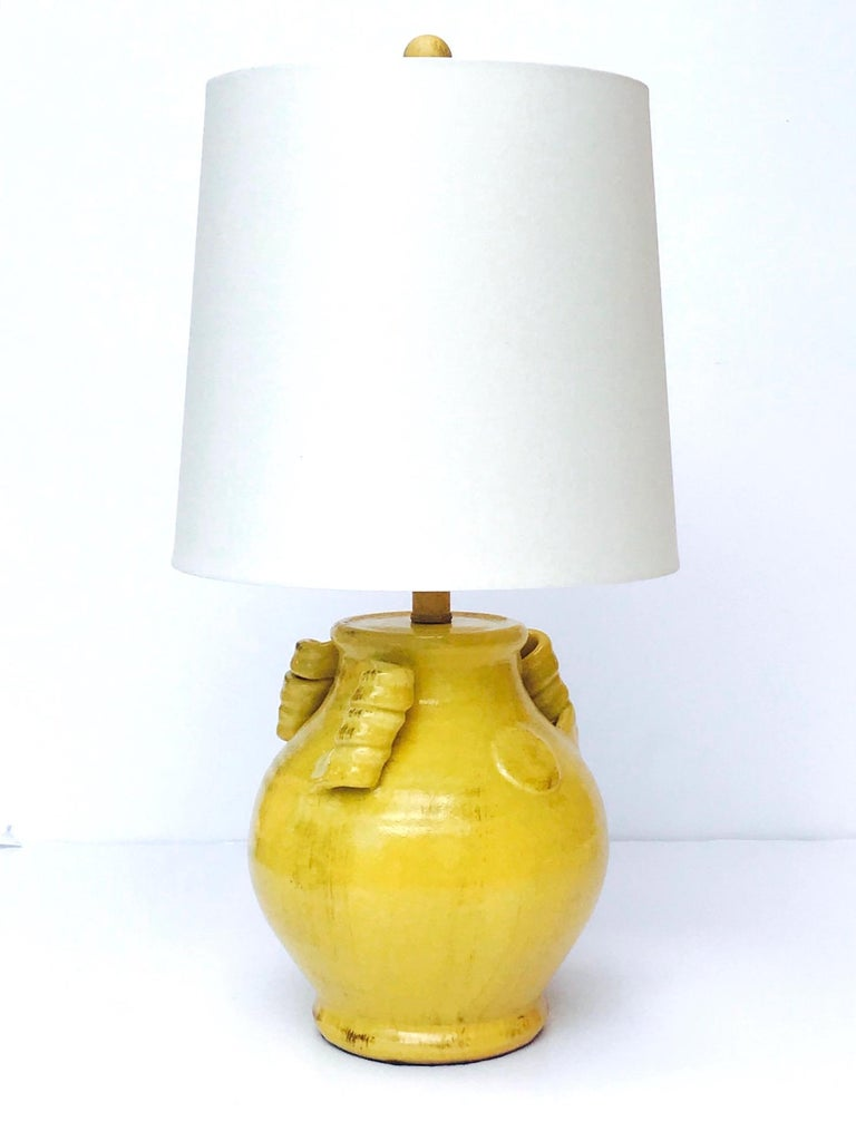 Glazed Pair of Elegant Chinese Pottery Lamps in Antique Yellow Glaze For Sale