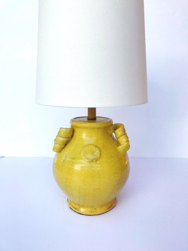 Late 20th Century Pair of Elegant Chinese Pottery Lamps in Antique Yellow Glaze For Sale