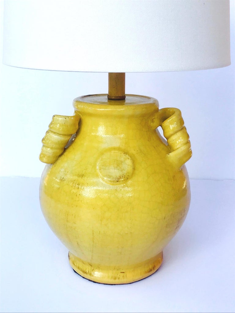 Ceramic Pair of Elegant Chinese Pottery Lamps in Antique Yellow Glaze For Sale