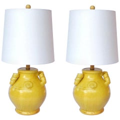 Pair of Elegant Chinese Pottery Lamps in Antique Yellow Glaze