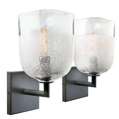 Pair of Clear Square Glass Sconces by Siemon & Salazar
