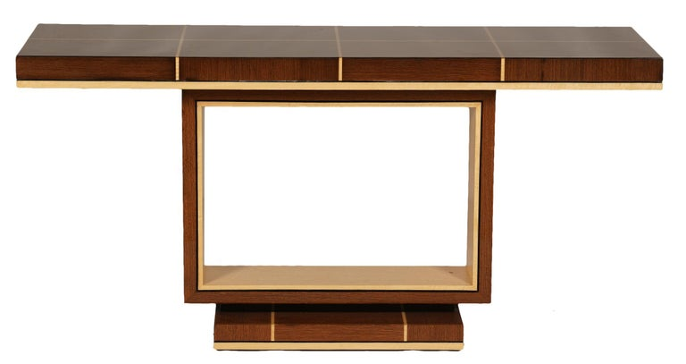 Elegant Contemporary Art Deco Style Inlaid Lacquer Console Table For Sale