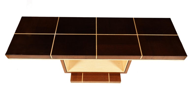 American Elegant Contemporary Art Deco Style Inlaid Lacquer Console Table For Sale