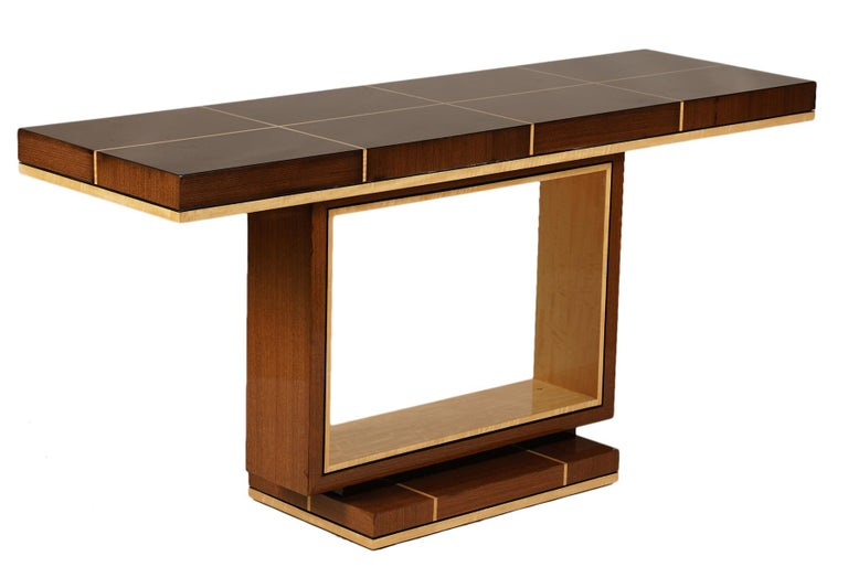 Elegant Contemporary Art Deco Style Inlaid Lacquer Console Table For Sale 2