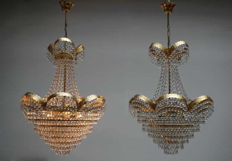 Hollywood Regency One Elegant Crystal and Brass Chandelier For Sale