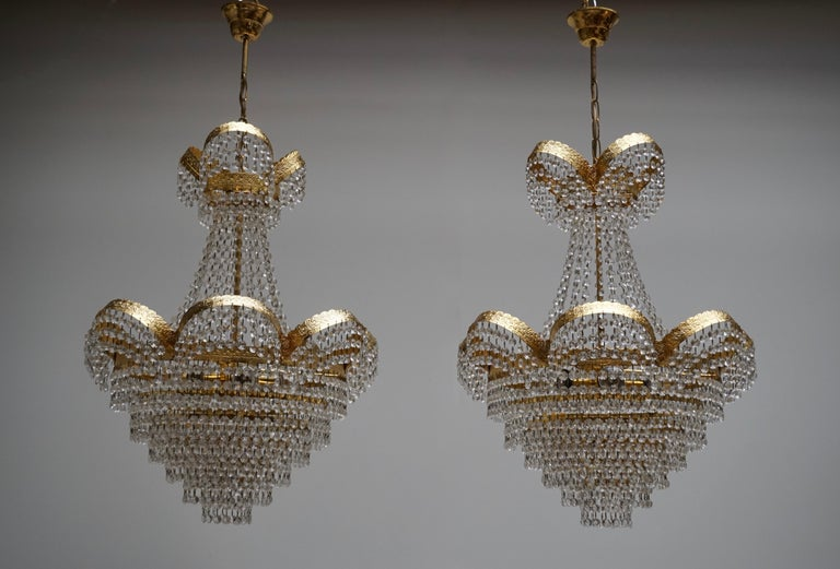 Italian One Elegant Crystal and Brass Chandelier For Sale