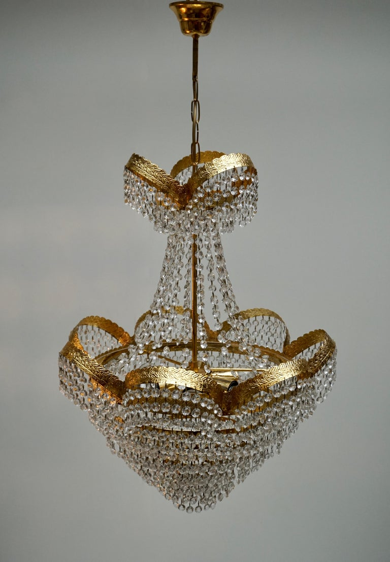 One Elegant Crystal and Brass Chandelier For Sale 1