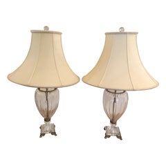 Pair of Elegant Crystal Schonbek Lamps