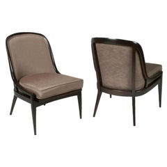 Pair of Elegant Dark Walnut Curved Back Occasional Chairs by Baker-Midcentury