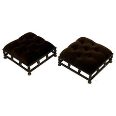 Pair of Elegant Edwardian Brass and Velvet Footstools