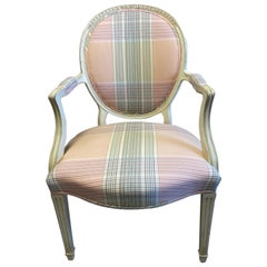 Chic Pair of Elegant Fine French Fauteuils in soft pink & mint upholstery