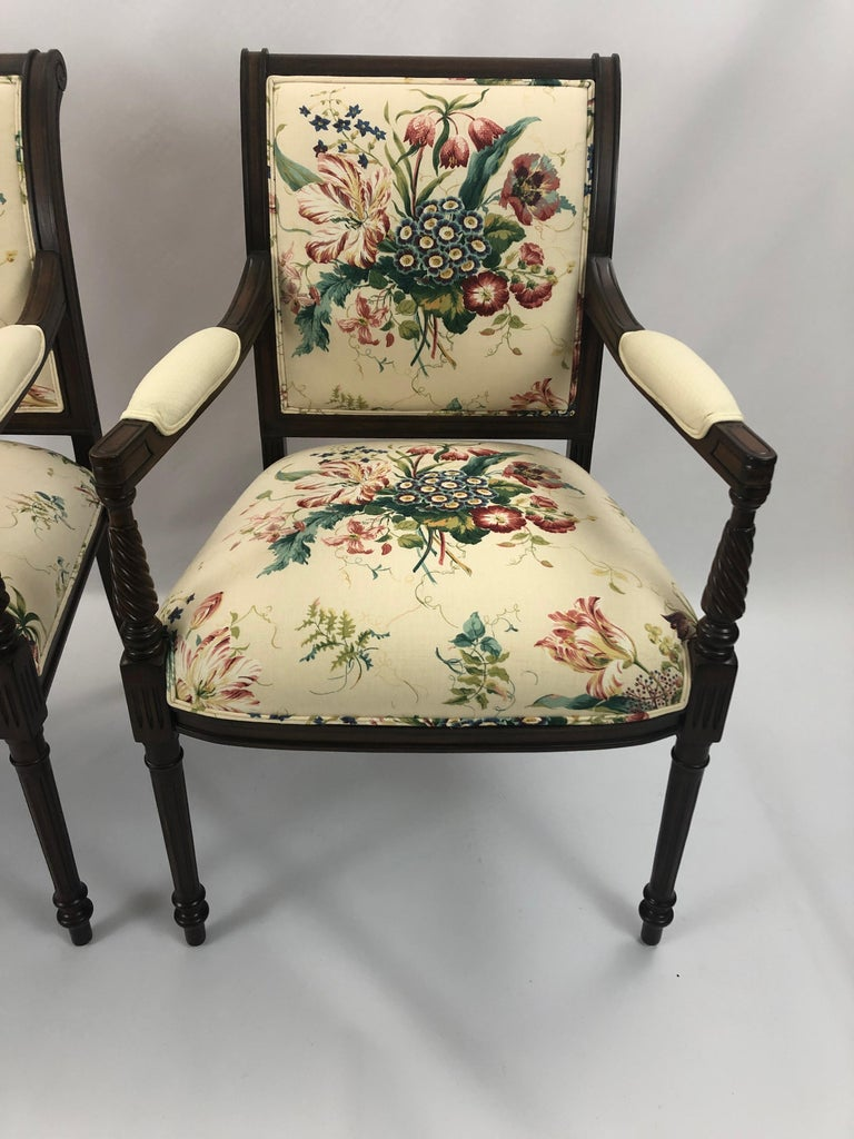 Pair of Elegant Floral Upholstered Fruitwood Armchairs For ...
