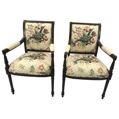Pair of Elegant Floral Upholstered Fruitwood Armchairs