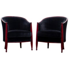 Pair of Elegant French Art Deco Bergère Chairs