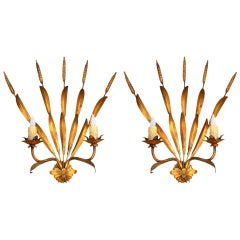 Pair of Elegant French Gilt Metal Sconces