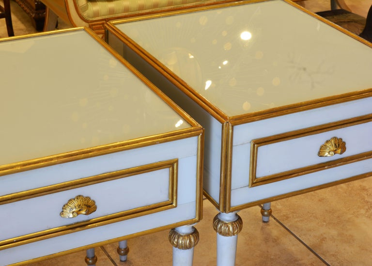 Pair of Elegant French Louis XVI Style Milk Glass Mounted Giltwood Tables For Sale 9