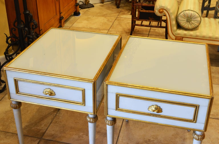Pair of Elegant French Louis XVI Style Milk Glass Mounted Giltwood Tables For Sale 10