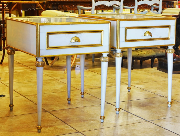 Pair of Elegant French Louis XVI Style Milk Glass Mounted Giltwood Tables In Good Condition For Sale In Ft. Lauderdale, FL