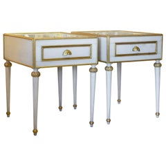 Pair of Elegant French Louis XVI Style Milk Glass Mounted Giltwood Tables