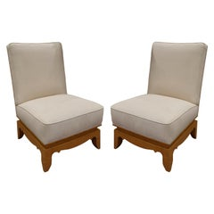 Pair of Elegant French Slipper Chairs with Sculpted Bases, 1950s