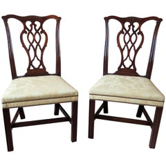 Pair of Elegant George 111 Mahogany Chippendale Chairs Reupholstered, circa 1770