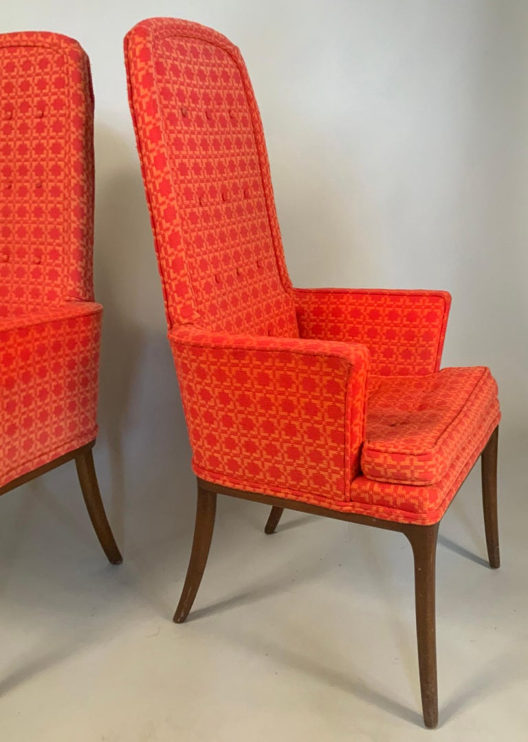 Mid-Century Modern Pair of Elegant High Back Armchairs by Erwin Lambeth For Sale