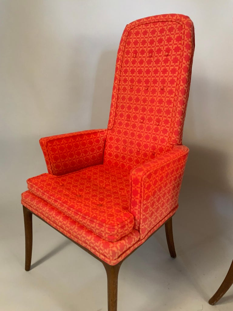 American Pair of Elegant High Back Armchairs by Erwin Lambeth For Sale