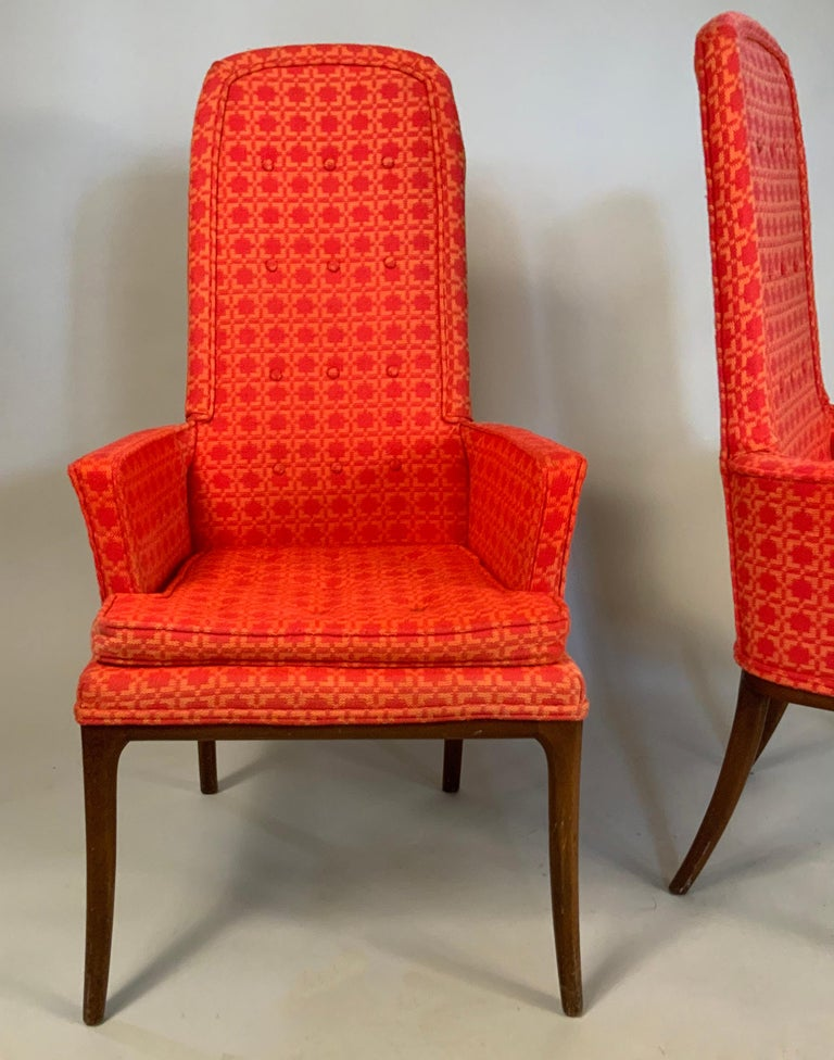 Pair of Elegant High Back Armchairs by Erwin Lambeth In Good Condition For Sale In Hudson, NY