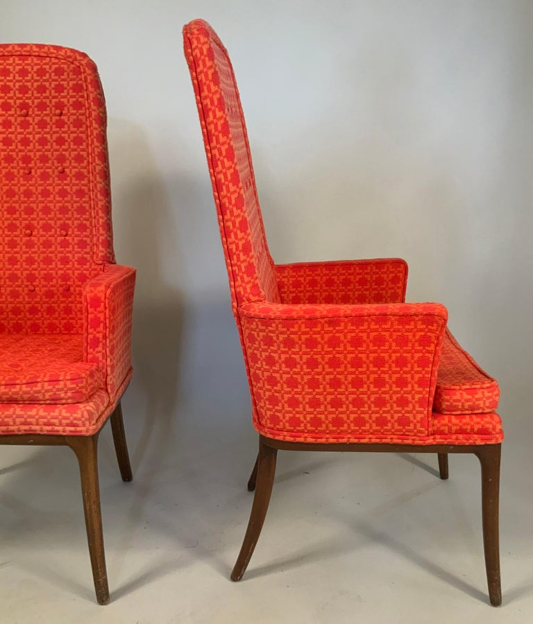 Mid-20th Century Pair of Elegant High Back Armchairs by Erwin Lambeth For Sale