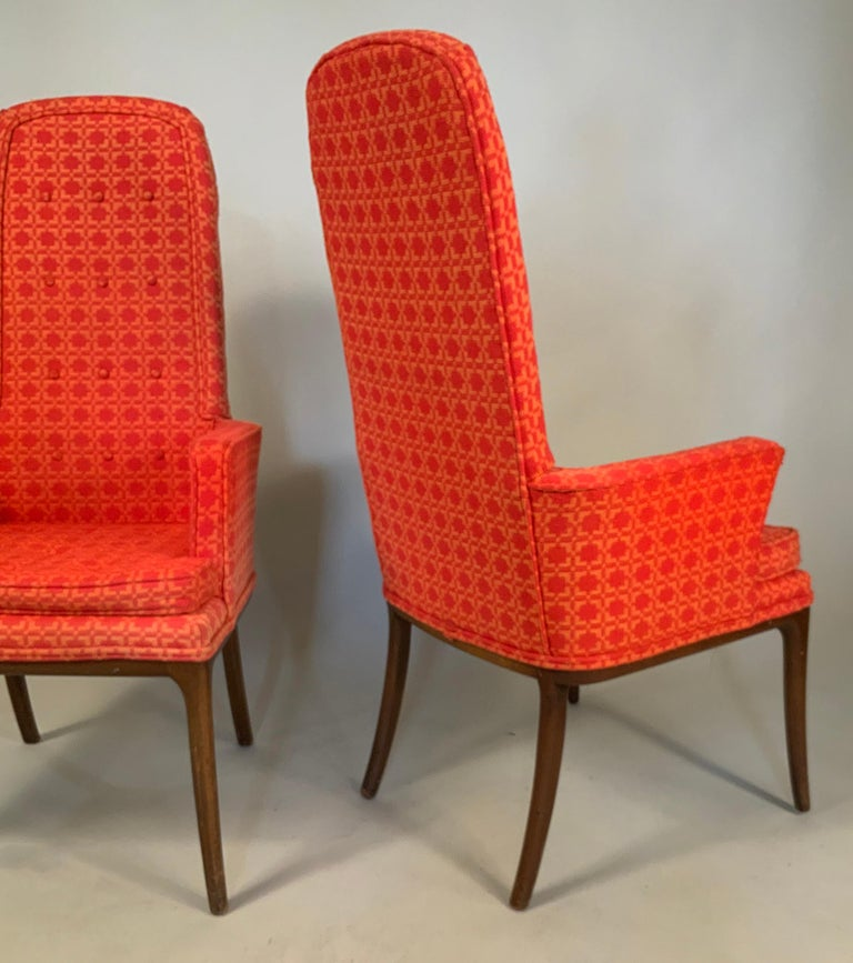Upholstery Pair of Elegant High Back Armchairs by Erwin Lambeth For Sale