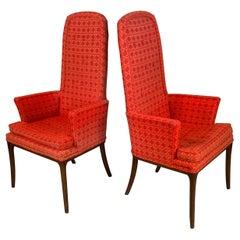 Pair of Elegant High Back Armchairs by Erwin Lambeth