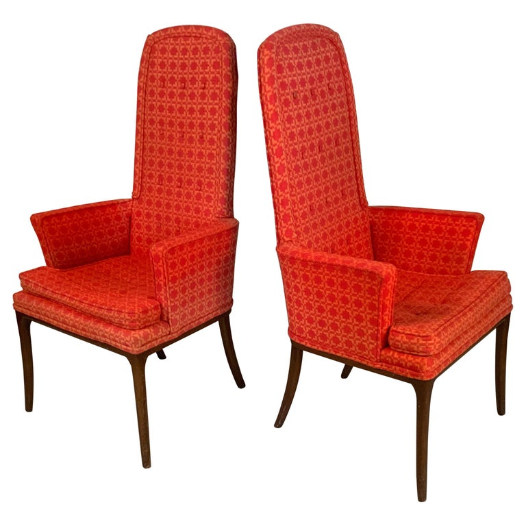Pair of Elegant High Back Armchairs by Erwin Lambeth For Sale