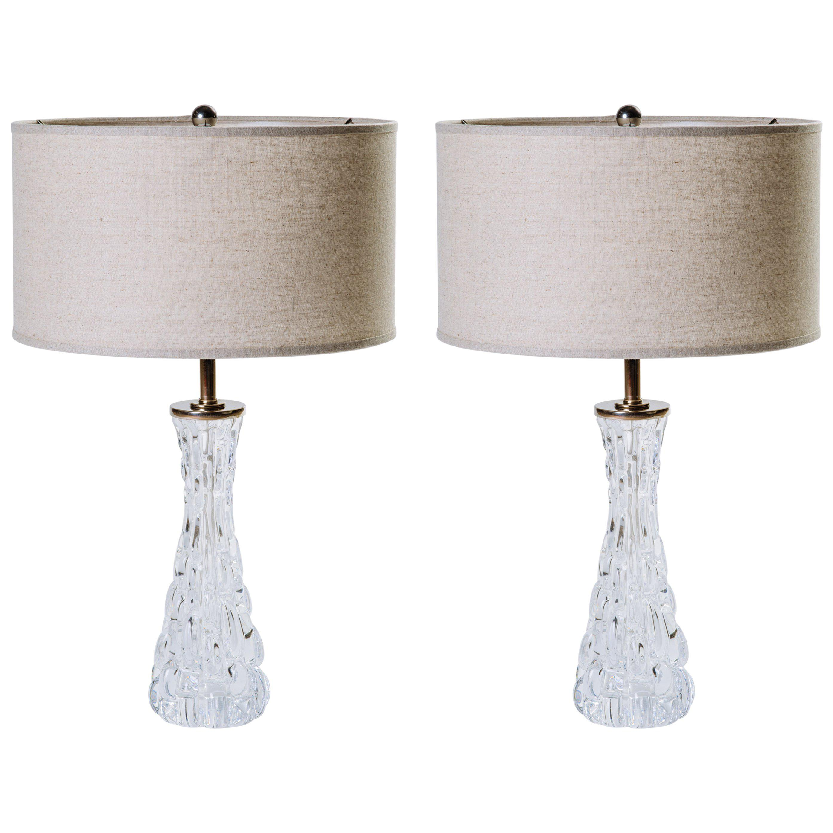 Pair of Elegant Ice Glass Lamps by Carl Fagerlund for Orrefors