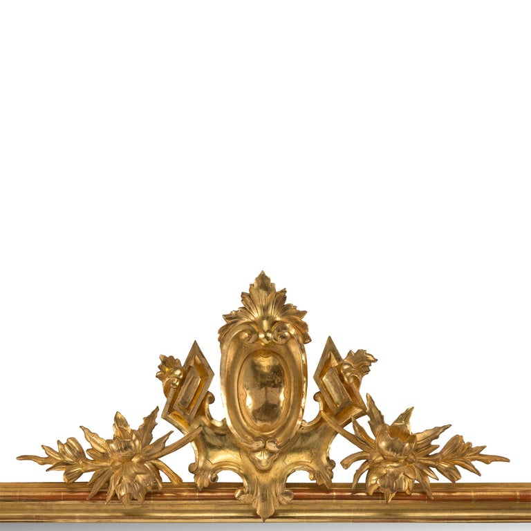 Pair of Elegant Italian 19th Century Horizontal Giltwood Mirrors In Good Condition For Sale In West Palm Beach, FL