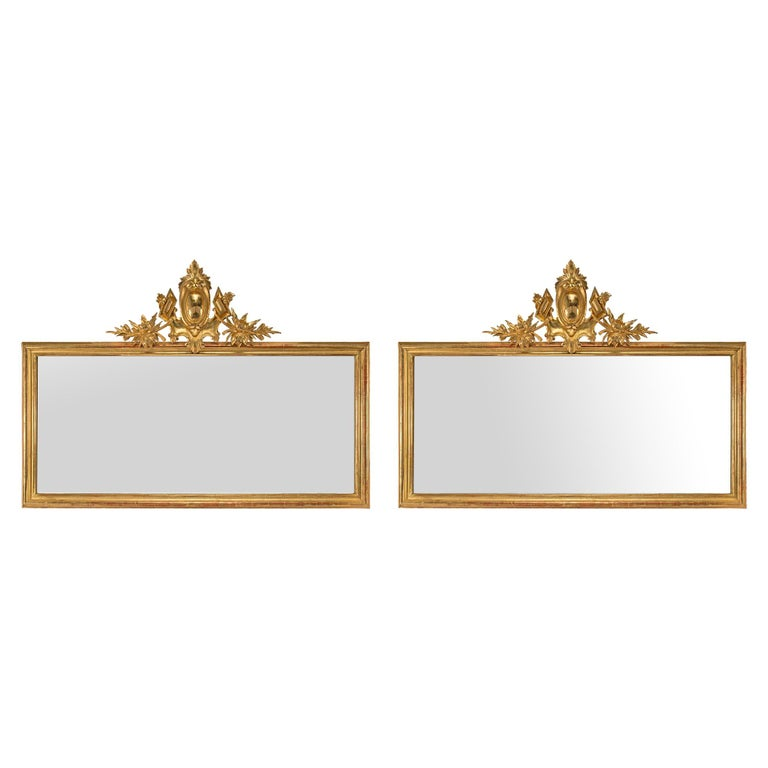Pair of Elegant Italian 19th Century Horizontal Giltwood Mirrors For Sale