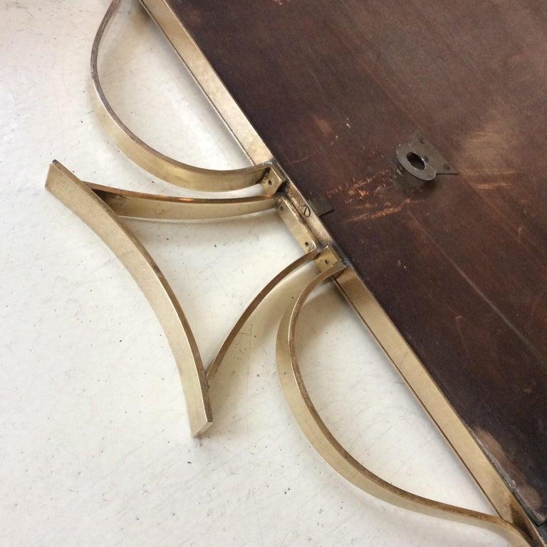Pair of Elegant Italian Brass Wall Mirrors, circa 1950 For Sale 5