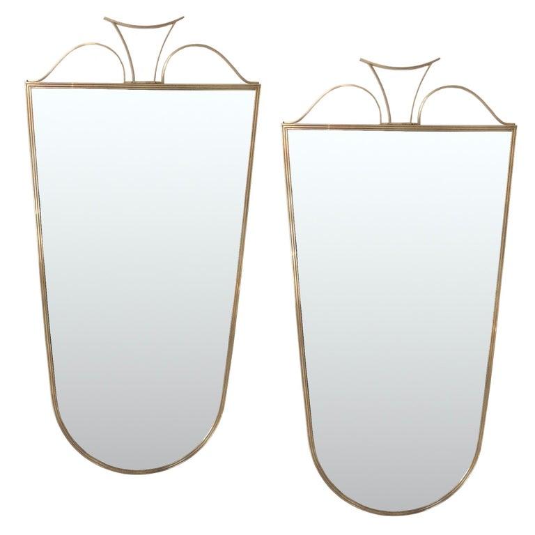 Pair of Elegant Italian Brass Wall Mirrors, circa 1950 For Sale 6