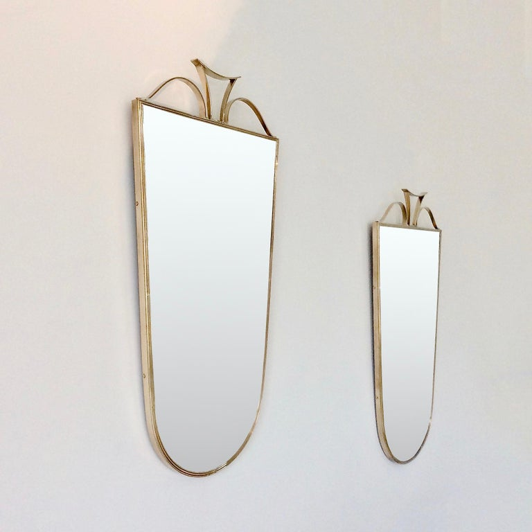 Mid-Century Modern Pair of Elegant Italian Brass Wall Mirrors, circa 1950 For Sale