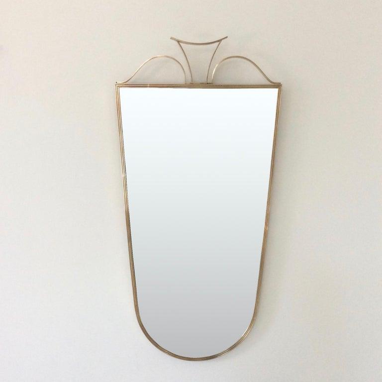 Pair of Elegant Italian Brass Wall Mirrors, circa 1950 For Sale 1