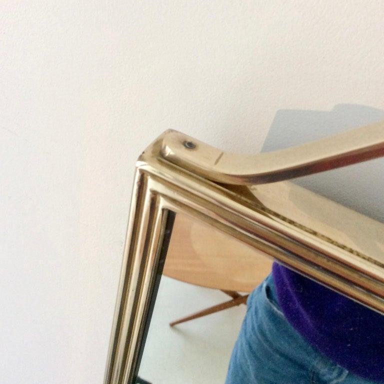 Pair of Elegant Italian Brass Wall Mirrors, circa 1950 For Sale 2