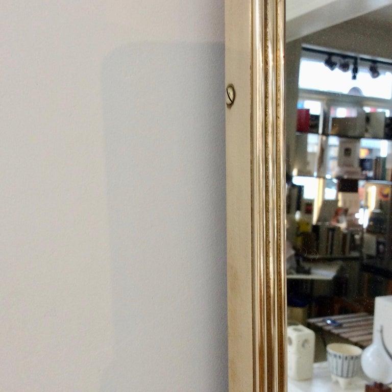 Pair of Elegant Italian Brass Wall Mirrors, circa 1950 For Sale 3